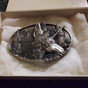 Bergamot Vintage Pewter Unicorn Belt Buckle!